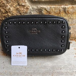 NWOT Coach Crossbody clutch black lacquer rivets